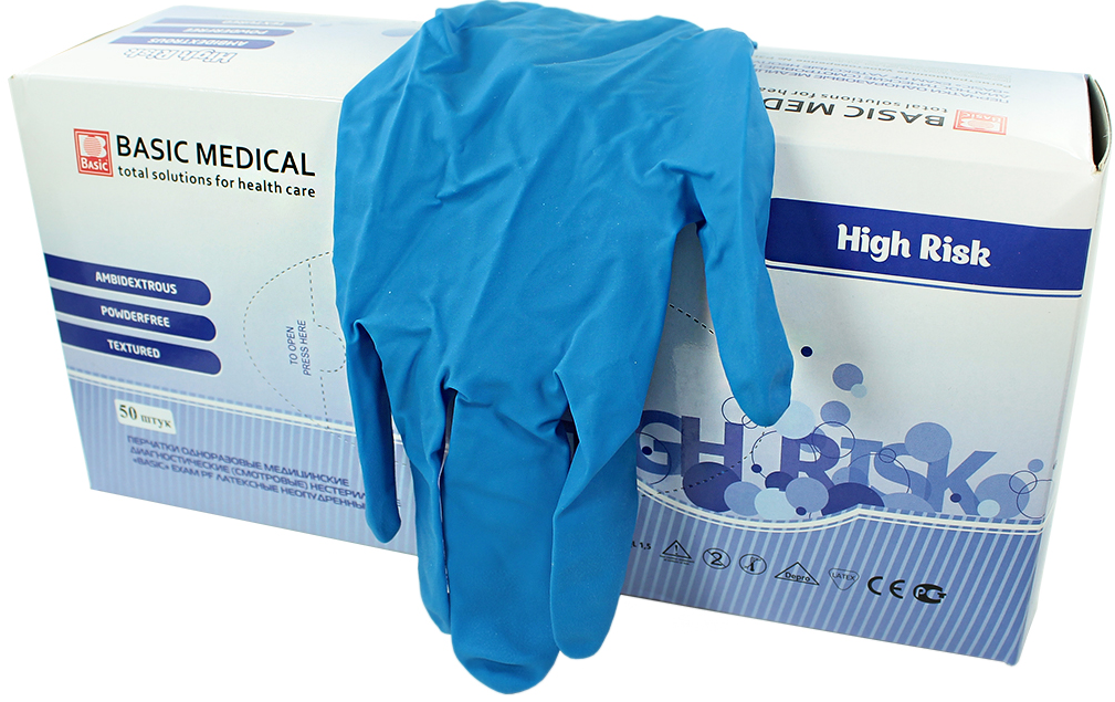 Фото перчатки basic high risk повышенной плотности латексные