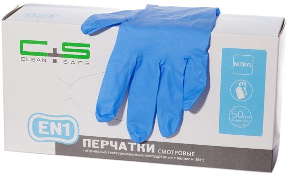 Фото перчатки нитриловые повышенной прочности Clean+Safe EN1