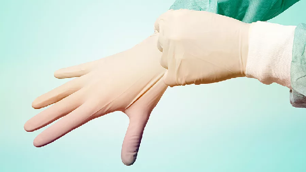 Фото перчаточный сок и надевание хирургической перчатки